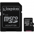 Карта памяти Kingston 64 GB microSDXC Class 10 UHS-I + SD Adapter SDC10G2/64GB  1