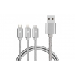 Кабель PURIDEA L10 3in1 Lightning,Type-C,microUSB 1.5m Silver