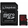Карта памяти Kingston 128 GB microSDXC class 10 UHS-I U3 Canvas React + SD Adapter SDCR/128GB